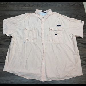 Columbia PFG Orange & White Stripe Shirt 4XL